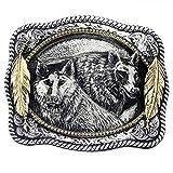 Lobos con plumas de indio hebilla dorada, 24 Ct. Hebilla de oro