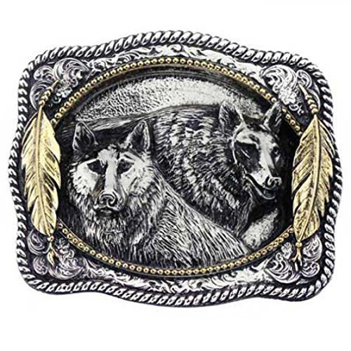 Wolves with Indian feathers golden buckle, 24 Ct. Gold buckle