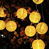 SunJas Solar Lichterkette 30 LEDs 6 Meter Lampions Laterne wasserfest Lichterkette Garten Innen- und Außenbereich warmweiß kaltweiß blau bunt für Party Weihnachten Outdoor Fest Deko usw. (30 LEDs warmweiß)