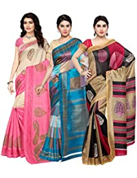 Oomph! Women's Raw Silk Printed Sarees Combo - Multi_combo3_2484pinkbeigestr