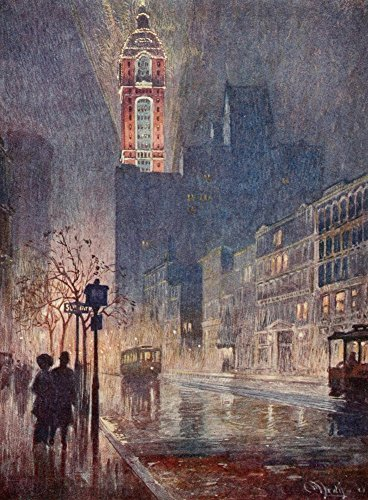 The Poster Corp Martin Lewis - New York 1911 Singer Building Lower Broadway at Night Kunstdruck (60,96 x 91,44 cm) (A 1911 Building)