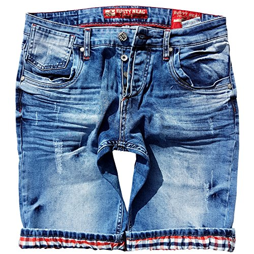 R-Neal Denim Mix136 Herrenhose Kurze Hose Jeans Vintage Destroyed Bermuda Shorts, Größe:M, Model:13601