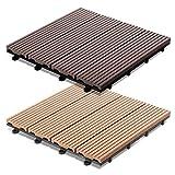 casa pura Pavimento per Esterno in Legno Composito Timber | (WPC) | A Incastro | Set da 11, 30x30cm | Marrone