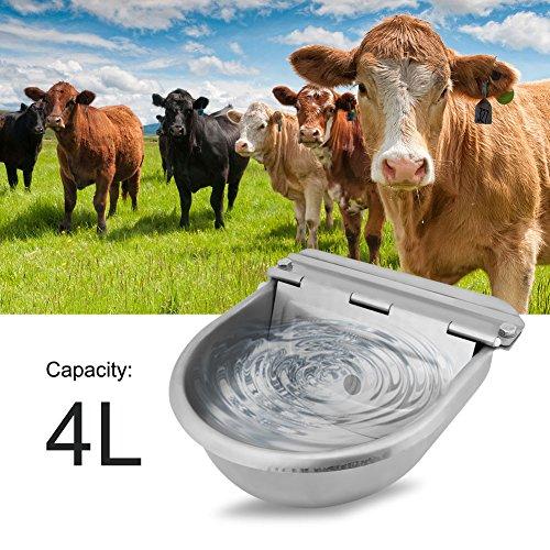 GOTOTOP Acero Inoxidable Tazón de Fuente de Agua de Bebida Automático para Caballos Cabras Ovejas Ganado