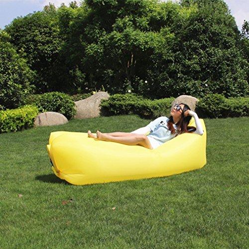 GZZ Bewegliche Faule Couch Des im Freien Sofa Faltete Den Aufblasbaren Faulen Schlafsack-Luftsofa Des Strandes,Gelb,250 * 75 cm