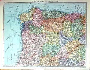 Grande Carte Antique Rare Espagne Portugal Madrid Porto Vigo Du Nord-ouest d'Impression