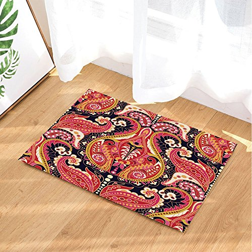 gohebe Paisley Floral Bad Teppiche traditionellen Persischen Kunst Drucken rutschfeste Fußmatte Boden Eingänge Innen vorne Fußmatte Kinder Badematte 39,9x 59,9cm Badezimmer Zubehör (Teppich Floral Paisley)