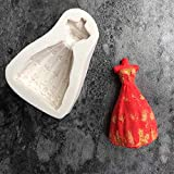 clifcragrocl Stampi per Dolci, Wedding Princess Dress Silicone Fondente Stampo Torta Glassa Pasta Decor Fai da Te Bakeware - Bianco
