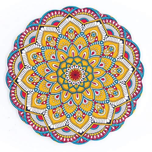 BOHORIA® Premium Design Topfuntersetzer - Dekorative Untersetzer für Vasen, Töpfe, Karaffen und Flaschen auf ihrem Esstisch aus Holz, Glas oder Stein (rund | 20cm) (Mandala Edition) (Taj Mahal)
