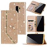 Nadoli Luxus Glitzer Liebe Herz Strass Spleißen Lanyard PU Leder Magnetverschluss Diamant Flip Brieftasche Handyhülle Etui Shell für Samsung Galaxy S9 Plus,Gold