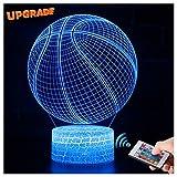 3D Basketball Lampe LED Nachtlicht mit Fernbedienung, USlinsky 7 Farben Wählbar Dimmbare Touch Schalter Nachtlampe Geburtstag Geschenk, Frohe Weihnachten Geschenke Für Mädchen Männer Frauen Kinder