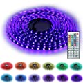 HonCon 5-Meter Waterproof Flexible Color Changing RGB SMD 5050 300 LEDs Light Strip Kit with 44 Keys IR Remote Controller,Control Box,12v 5A UK Power Supply for Home Decorative from HonCon