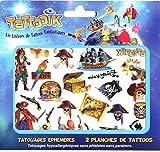 TATTOOIK PIRATES Tatouage ephemere temporaire hypoallergénique Fabriqué en FRANCE.Fille et Garçon 2 planches environ 40 tattoos Enfant