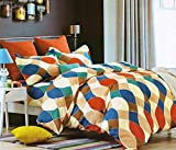 #4: HFI140 TC 3D Printed PolyCotton Double Bed Sheet with 2 Pillow Cover (88X96 inches) - Multicolor