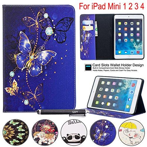 iPad Mini 1234Fall, newshine PU Leder Flip Ständer Wallet Smart Case Cover mit Auto Sleep/Wake Kreditkarte Slots Rückseite Shell für Apple iPad Mini 1, 2, 3. und 4. Generation, 5 Cobalt Butterfly