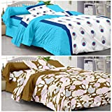 Story@Home Designer Premium Elegant 120 TC Cotton 2 Single Bedsheets with 2 Pillow Covers - White and Brown