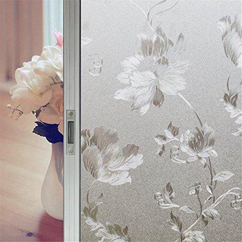 uviclover nicht klebend Fenster Film selbst Sichtschutz Statische kein Kleber Frosted Filme gebeizt Glas Deko klammert sich an, plastik, Cotton Rose, 35.5-by-157.5-Inch