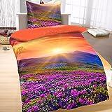 Bertels Textilhandels GmbH Mikrofaser Bettwäsche Wende 135x200 cm 2 tlg Landschaft Blumen