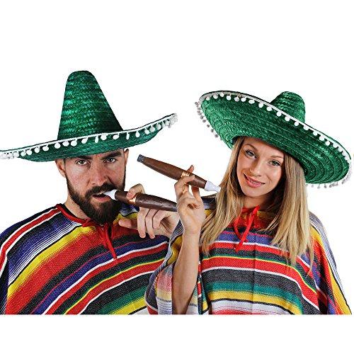 kaner Paar KOSTÜM VERKLEIDUNG = 2 Ponchos+2 SOMBREROS+2 Dicke Plastik ZIGARREN+ 2 MEXIKANISCHE SCHNURRBÄRTE=Fasching Karneval=GRÜNE SOMBREROS ()