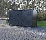 3 Mülltonnenboxen Modell No.2 für 120 Liter Mülltonnen / komplett Anthrazit RAL 7016 / witterungsbeständig durch Pulverbeschichtung / mit Klappdeckel und Fronttür