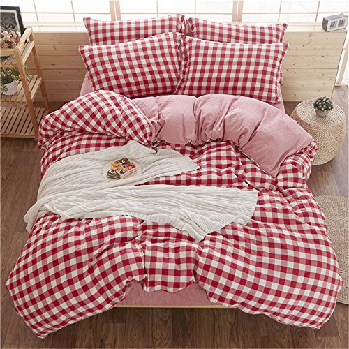 RFVBNM Plaid rouge literie ensembles printemps et été linge de lit de couette couverture de cadeaux ménagers simple Lattice pure eau lavage de luxe literie Kit housse couette Set maison décoration,queen
