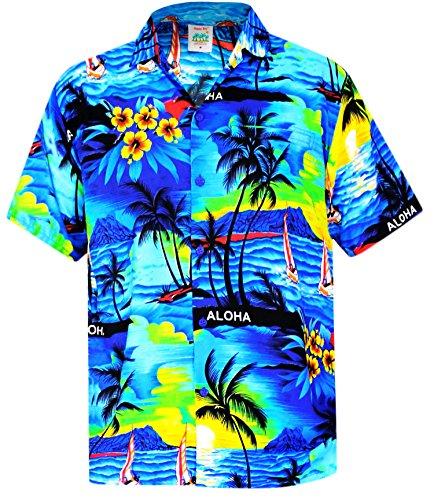 LA-LEELA-Shirt-camisa-hawaiana-Hombre-XS-5XL-Manga-corta-Delante-de-bolsillo-Impresin-hawaiana-casual-Regular-Fit-Camisa-de-Hawaii-Azul-538-XS
