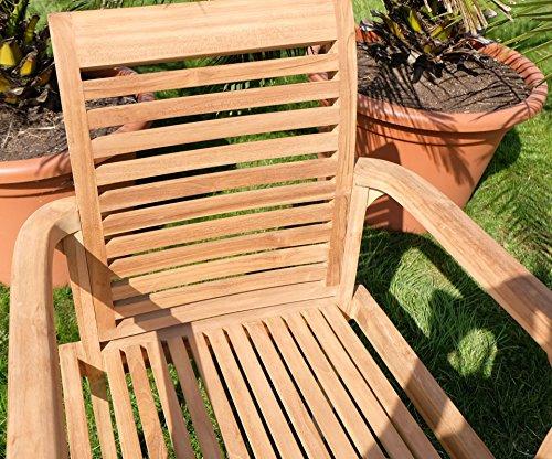 Edle TEAK XXL Gartengarnitur Gartenset Sitzgruppe Gartenmöbel Ausziehtisch 150-200cm + 4 Sessel + Gartenbank 'ALPEN' Holz geölt von AS-S - 4