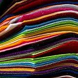 Edukit 60Pcs, 15cmx15cm Squares Non-Woven Soft 20 Assorted Mixed Colour Felt Fabric Sheets DIY, Crafts, Supplies, Scrapbooks, Patchwork Square