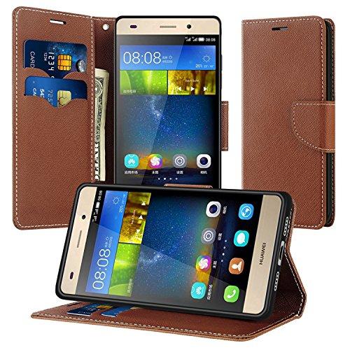 Coque Huawei P8 Lite, Supad Magnétique Ultra Flip Premium PU Cuir Doux TPU Portefeuille Wallet Case Cover Housse Etui avec Fonction Stand pour Huawei P8 Lite (Marron)
