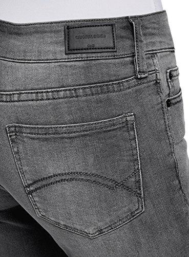 oodji Ultra Damen Jeans Skinny mit Regulärem Bund Grau (2300W)