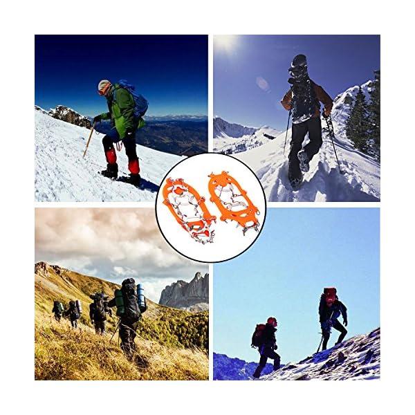 19 Dientes de Acero Inoxidable de Crampones Antideslizante Raquetas de Nieve,al Aire Libre de Esqui de Senderismo en… 5