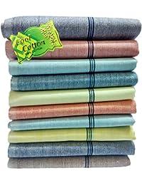 Fancyadda Men's Khadi Cotton Handkerchiefs (Pack of 10, Multi-Colored)