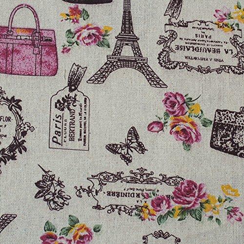 Tissu de coton Retro de lin paris pour tapisser chaises descalzadoras pour travaux manuels, Couture Coussins Guirlandes caravanes vitrine Rideau 1 m x 50 cm. De Open Buy