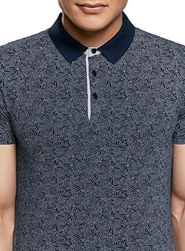 oodji Ultra Herren Baumwoll-Poloshirt Bedruckt Blau (7912E)