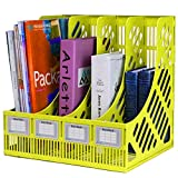 #9: FastUnbox 4 Sections File Rack Paper Magazine Holder Home Office Desk Book Sorter Storage Hanger Tidy Dispay Bin Desktop Shelf File Dividers Cabinet Document Tray Organizer Box (Yellow)