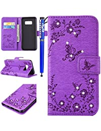 EUWLY Wallet Case for Samsung Galaxy Note 8,Samsung Galaxy Note 8 PU Leather Case,Butterfly Flower Embossing Bling Bling Sparkling PU leather Cover with Rhinestone Diamond Design Book Style Magnetic Closure PU Leather Wallet Elegant Classic Flip Cover Case Card Slot and Banknotes Pocket with Hand Strap For Samsung Galaxy Note 8 + 1 x Blue Stylus Pen- Purple