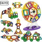 Jolitac 138 Stück Magnetische Bausteine Lernspielzeug Konstruktion Bauklötze Riesenrad Bausatz Kinder DIY Spielzeug Set fördert Kreativität mit Aufbewahrungsbox Büchlein ab 3 Jahre