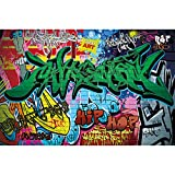 GREAT ART Póster Grafiti Pared Decoración Símbolos Coloridos Escritura Pop Art Muro Estilo de Calle Escritura Hip Hop Papel de Pared Street Art Pared   Foto póster Imagen Deco Pared by (140 x 100 cm)