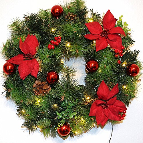 christmas decorations pre lit christmas wreath 36 led warm white red decorations 24 inch