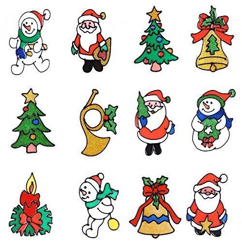 Natale per Finestra si aggrappa smontabile ed Traceless Sticker vetro senza colla, confezione da 12, perfetto per Natale e il Giorno del Ringraziamento Decorazione con pupazzi di neve, Babbo Natale, albero di Natale, e altri