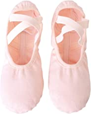 Ballet Slippers,Stretch Canvas Dance Ballet Shoes Slippers Flats Pumps for Girls Toddlers Kids