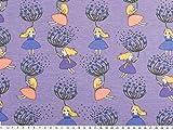 ab 1m: Baumwoll-Jersey, Pusteblume und Mädchen, flieder, 150cm breit