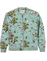 Maison Scotch Printed Denim Flamingo Bomber Jacket