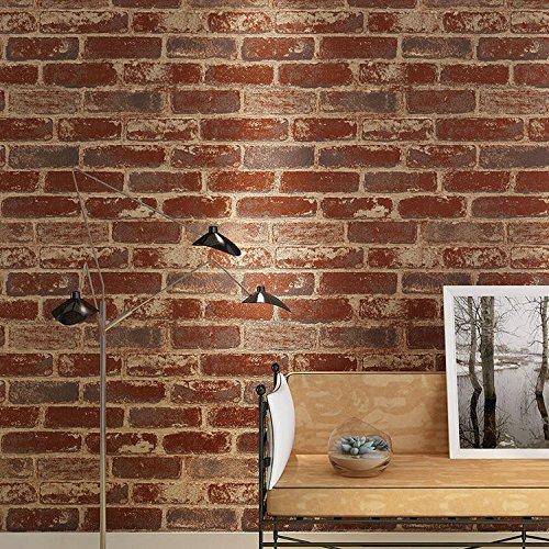 SISANLAI Retro 3D-Modellierung Brick Textur Brick Brick Wall Paper Café Bar und Restaurant Kultur Stein, aus rotem Backstein Tapete, 10*0,53 M (Textur Backstein Stein)