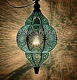 Handgemenge Türkis und Türkis antike marokkanische hängende Pendelleuchte Deckenleuchte 30 x 19 CM