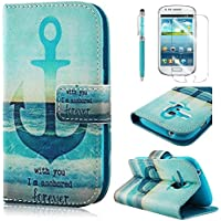 PhoneCase Meer und Anker Muster Bottom Series PU Leder Wallet Schutzhüll mit Display Schutzfolie für Samsung Galaxy S3 mini inkl. Stylus Stift blau
