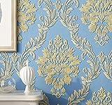 Yosot Europäische Vlies Tapete Stereoskopischen 3D-Relief Damaskus Schlafzimmer Wohnzimmer Hintergrundbild Blau