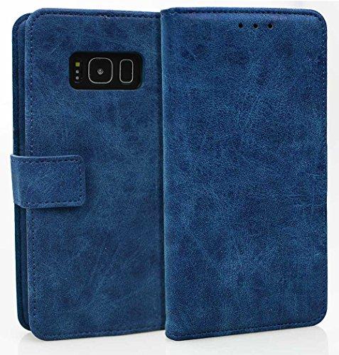 Para Samsung Galaxy S8 Funda, Ecoway(Azul) Cuero de la PU Leather Cubierta ,Función de Soporte Billetera con Tapa para Tarjetas Soporte para Teléfono Hebilla del imán