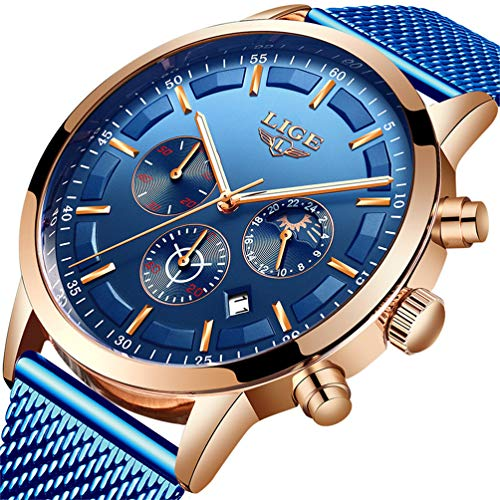 LIGE Uhr Herren Mode Edelstahl Wasserdicht Chronograph Herren Geschäft Kleid Blau Analog Quarz Uhren Automatisches Datum Gürtel Uhr