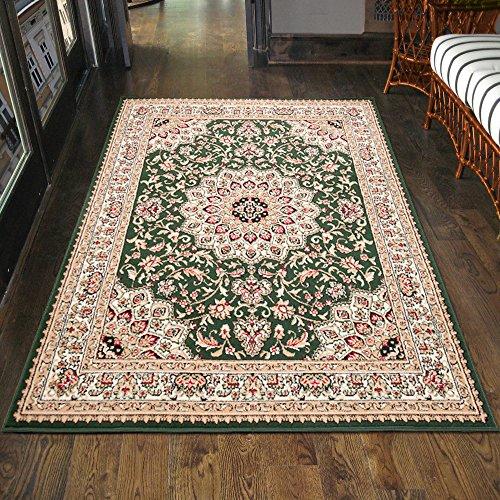 Carpeto Klassischer Orientteppich & Perserteppich mit Orientalisch Ornamente Muster Kurzflor in Grün/Top Preis - ÖKO Tex (250 x 350 cm)
